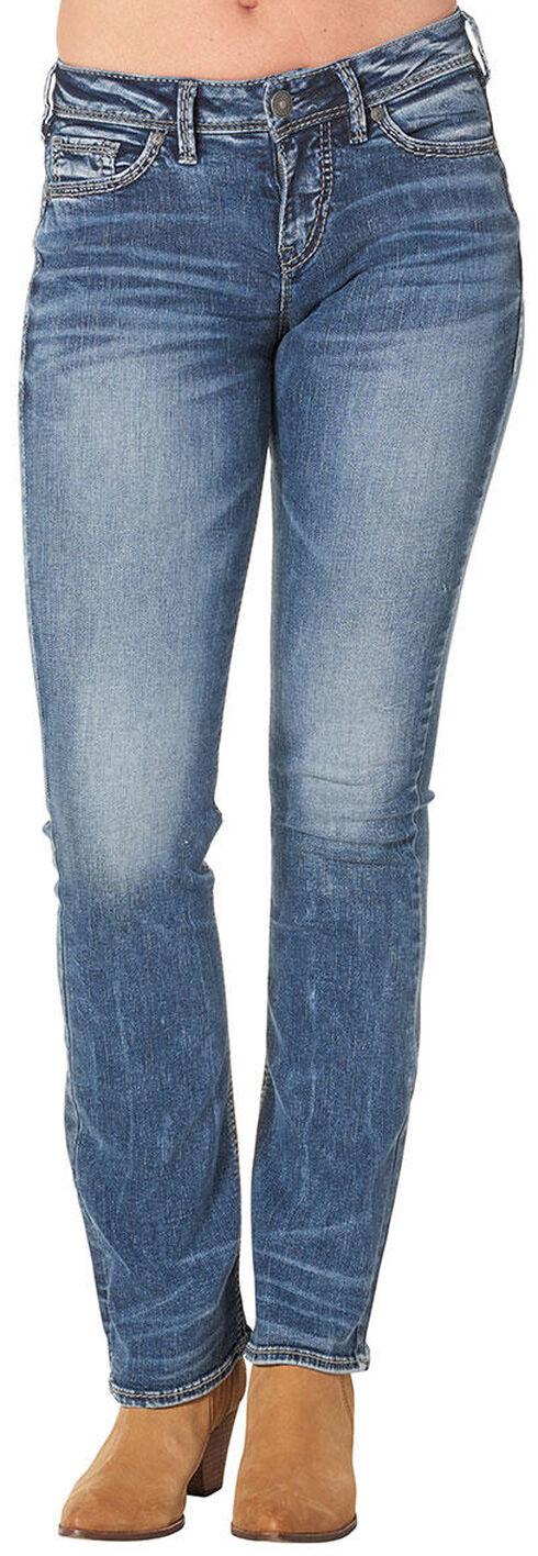 Silver Women's Suki High Slim Bootcut Dark Wash Jeans , Blue, hi-res