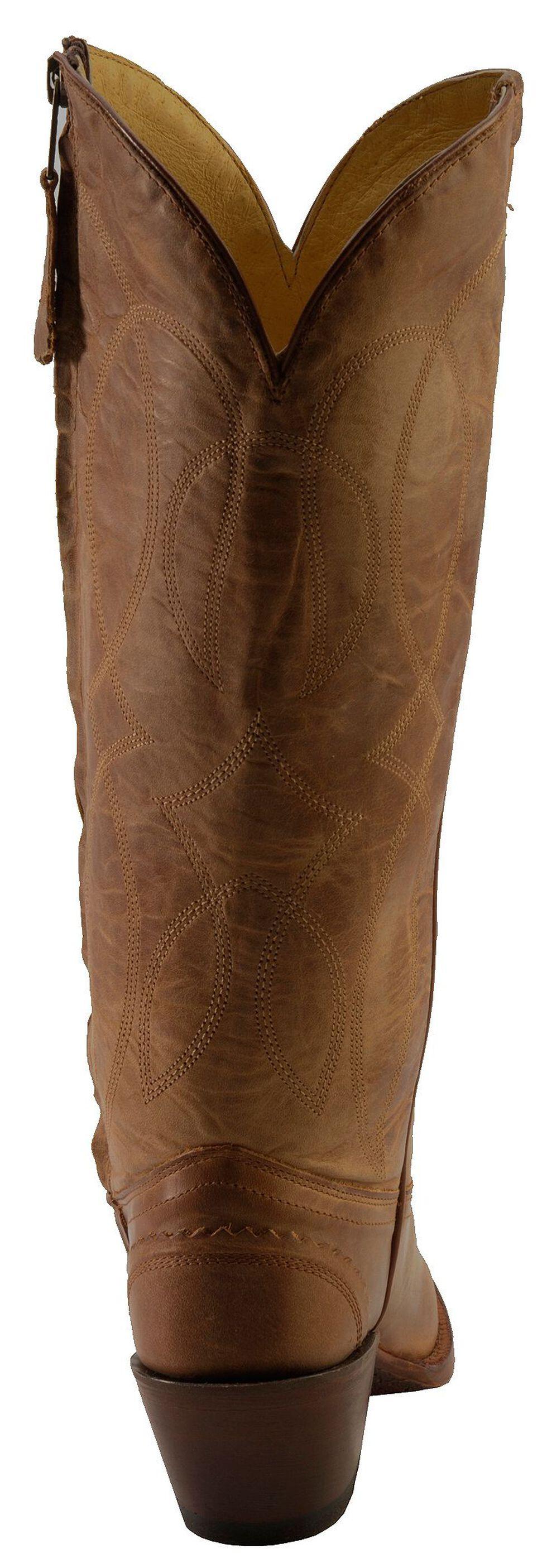 Tony Lama 100% Vaquero Latigo Tucson Zipper Cowgirl Boots - Snip Toe, Tan, hi-res