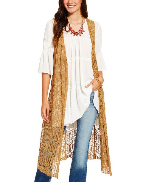 Ariat Women's Beige Joliet Crochet Long Vest , Beige/khaki, hi-res
