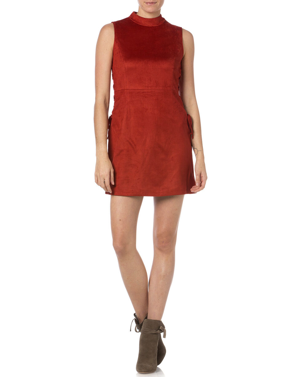 Miss Me Rust Sleeveless Faux Suede Dress, Rust, hi-res