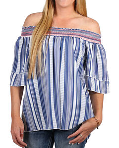 Tempted Women's Blue Off The Shoulder Striped Top , Blue, hi-res