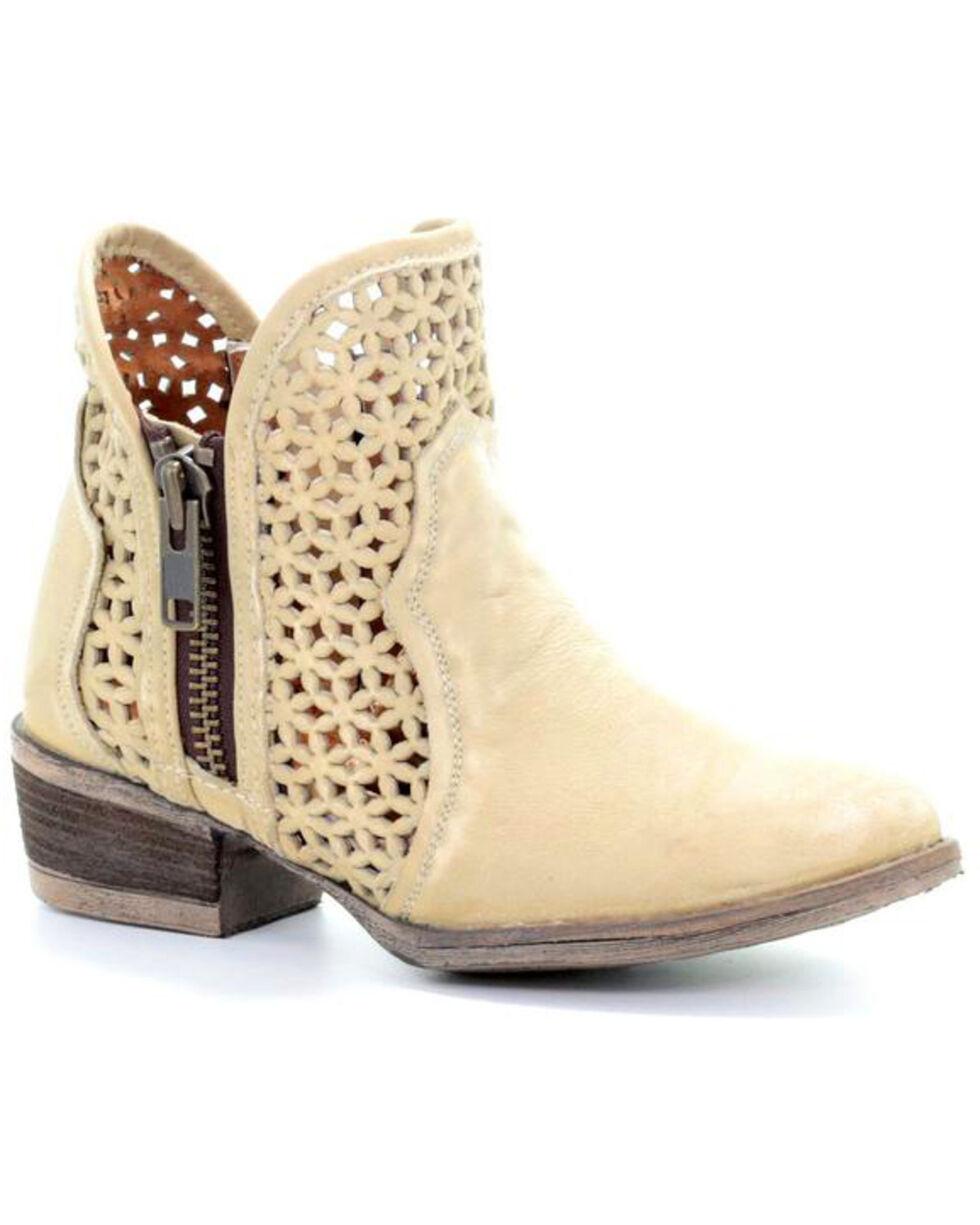 Circle G Women's Bone Cut-Out Short Boots - Round Toe, White, hi-res