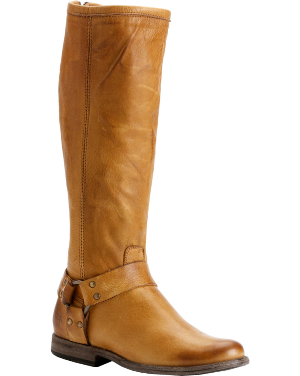 Frye Women's Phillip Harness Riding Boots - Round Toe, Camel, hi-res