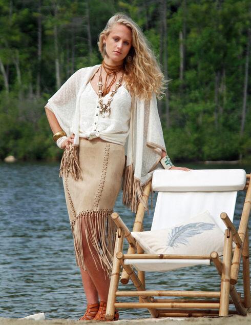 Tasha Polizzi Women's Fringe Sandstone Skirt, Sand, hi-res