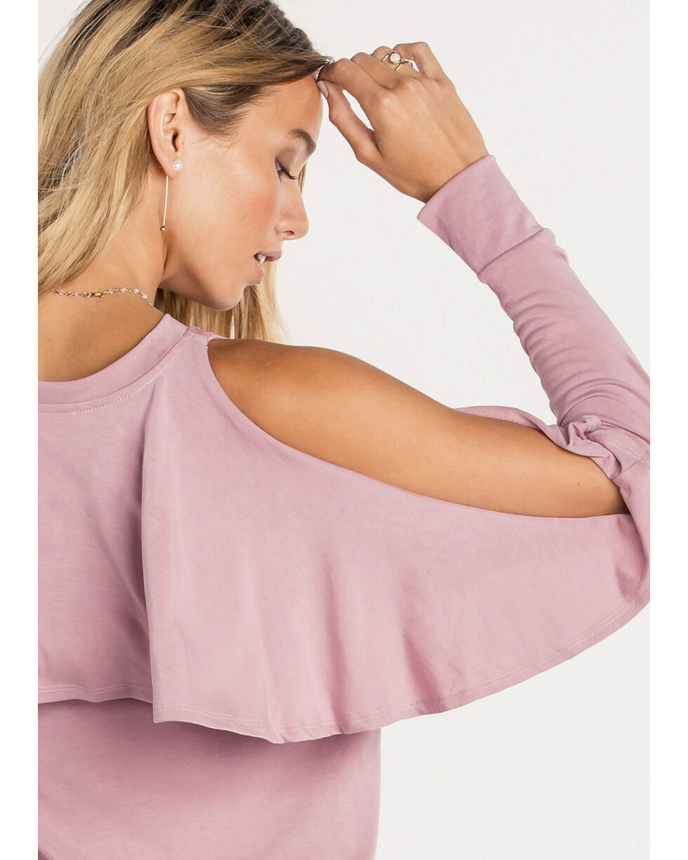 Miss Me Women's Cascading Dreams Cold Shoulder Top, Pink, hi-res