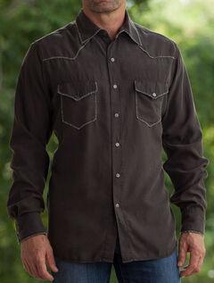 Ryan Michael Men's Coffee Whip Stitch Silk Twill Shirt , , hi-res