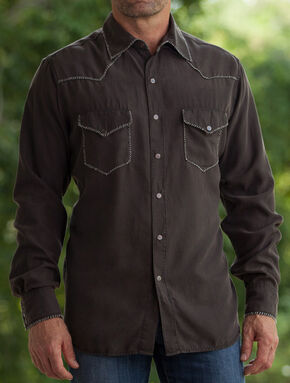 Ryan Michael Men's Coffee Whip Stitch Silk Twill Shirt , Brown, hi-res