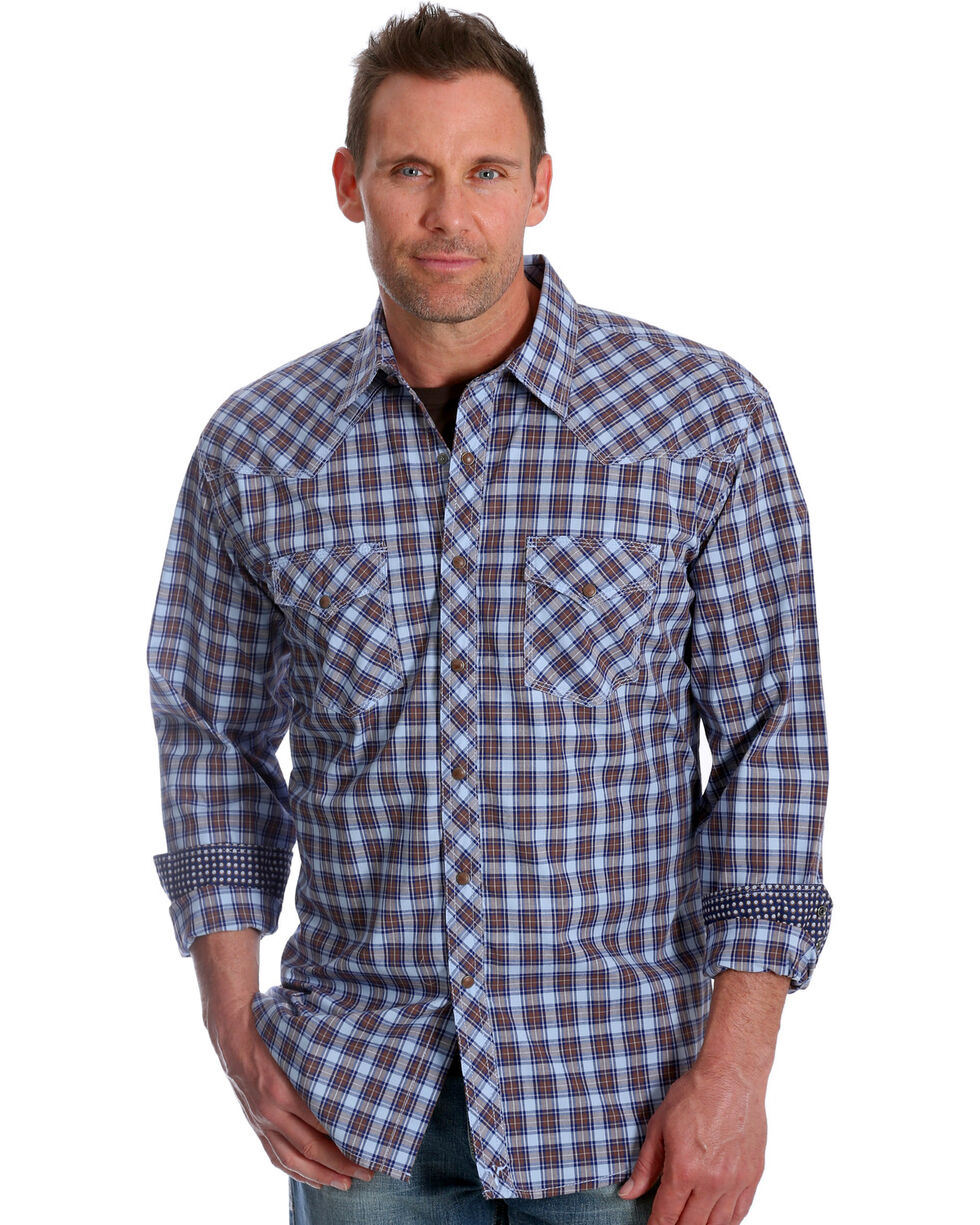 Wrangler Men's Blue Plaid 20X Advanced Comfort Competition Shirt , Blue, hi-res