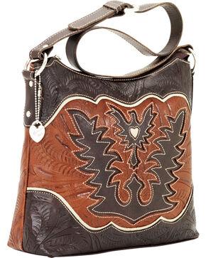 American West Women's Eagle Heart Shoulder Bag, Chocolate, hi-res