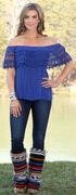 Wrangler Women's Blue Ruffle Off-The-Shoulder Top, Royal, hi-res