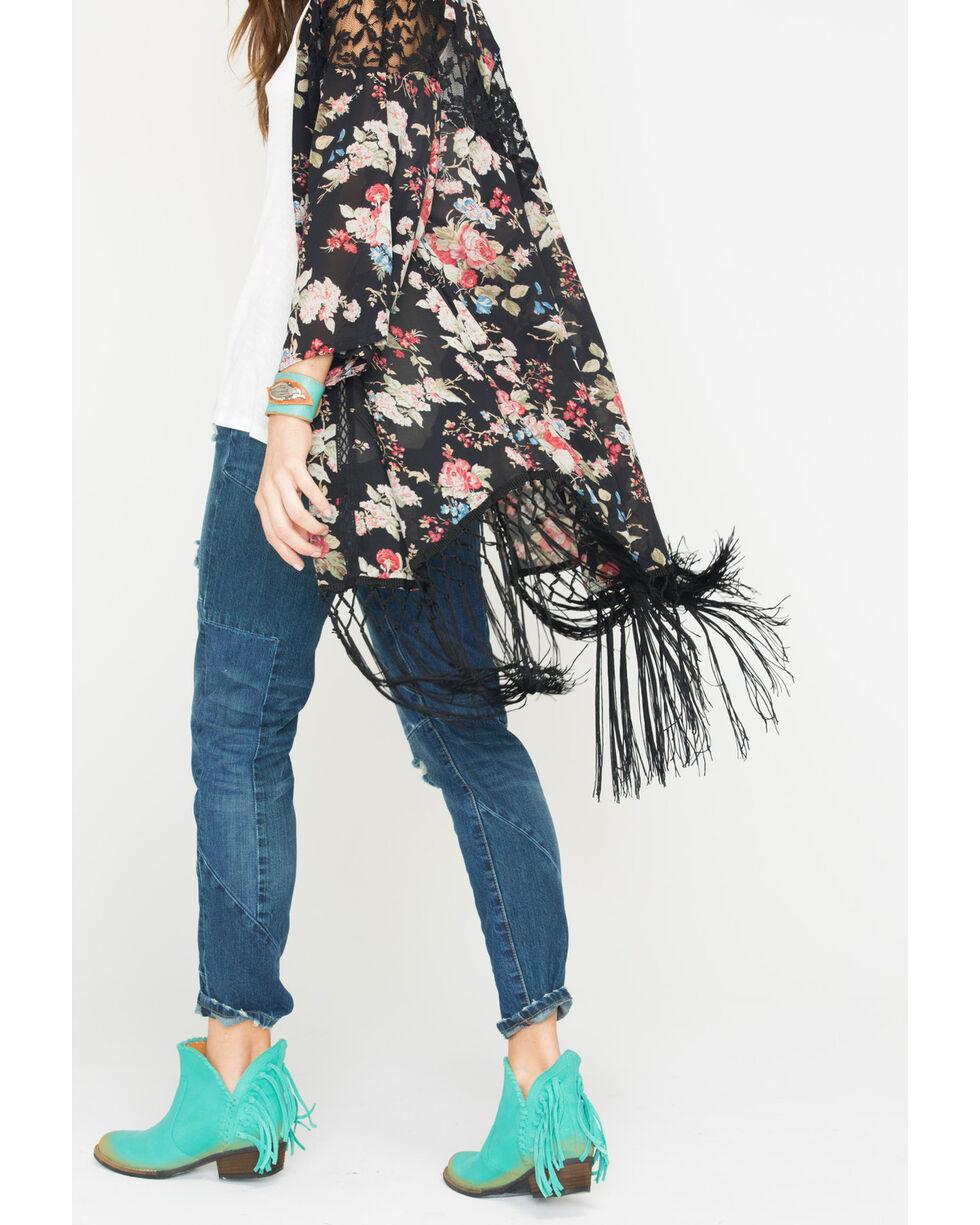 Miss Me Sweet Life Floral Kimono, Black, hi-res