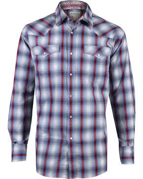 Roper Men's Plaid Long Sleeve Western Snap Shirt, Blue, hi-res