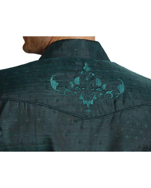 Roper Men's Tone On Tone Embroidered Western Shirt, Blue, hi-res