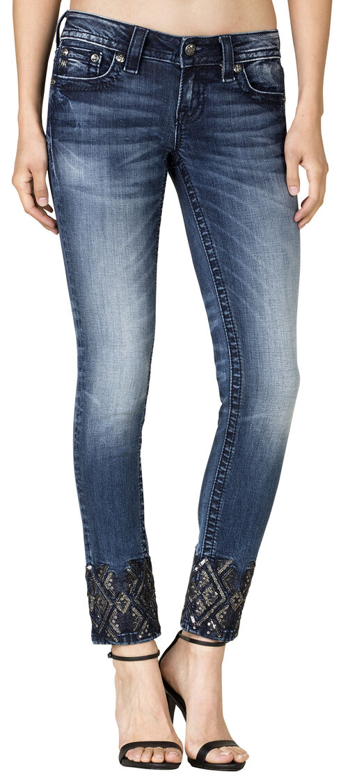 Miss Me Women's Dark Wash Embroidered Ankle Skinny Jeans, Blue, hi-res