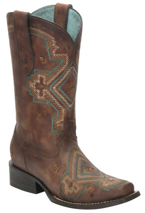 Corral Distressed Brown Studded Diamond Cowgirl Boots - Square Toe, Brown, hi-res