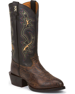 Tony Lama Men's Wax Uvalde Western Boots - Round Toe, Dark Brown, hi-res