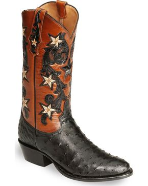 Tony Lama Signature Series Full Quill Ostrich Western Boots - Medium Toe, Black, hi-res