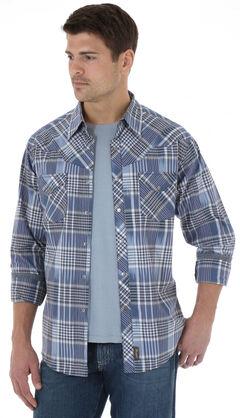 Wrangler Retro Men's Navy Plaid Western Shirt , Navy, hi-res
