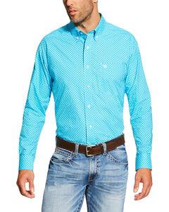 Ariat Men's Turquoise Baird Print Long Sleeve Shirt - Tall , Turquoise, hi-res