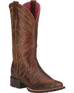 Ariat Brilliance Cowgirl Boots - Square Toe, Brown, hi-res