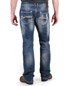 Realtree Men's Distressed Antler Pocket Jeans - Boot Cut, Blue, hi-res