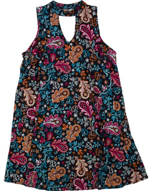 Eyeshadow Women's Paisley Keyhole Dress - Plus, Black, hi-res