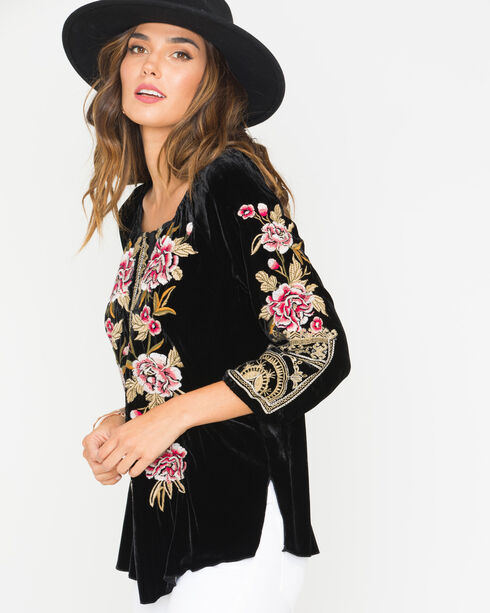 Johnny Was Women's Black Leith Velvet Peasant Blouse , Black, hi-res