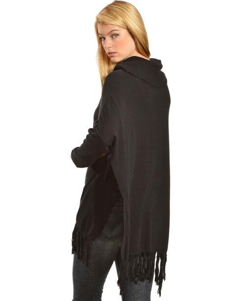 Black Swan Women's Sofia Fringe Trim Cowl Neck Tunic Sweater, Black, hi-res