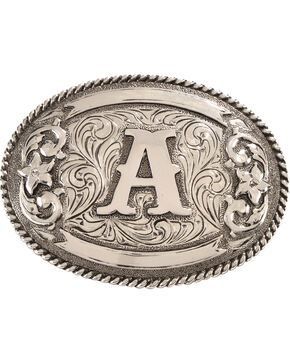 Cody James Men's Oval Letter A Initial Belt Buckle , Silver, hi-res
