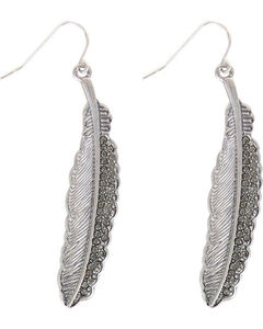 Shyanne Women's Rhinestone Feather Earrings, Silver, hi-res