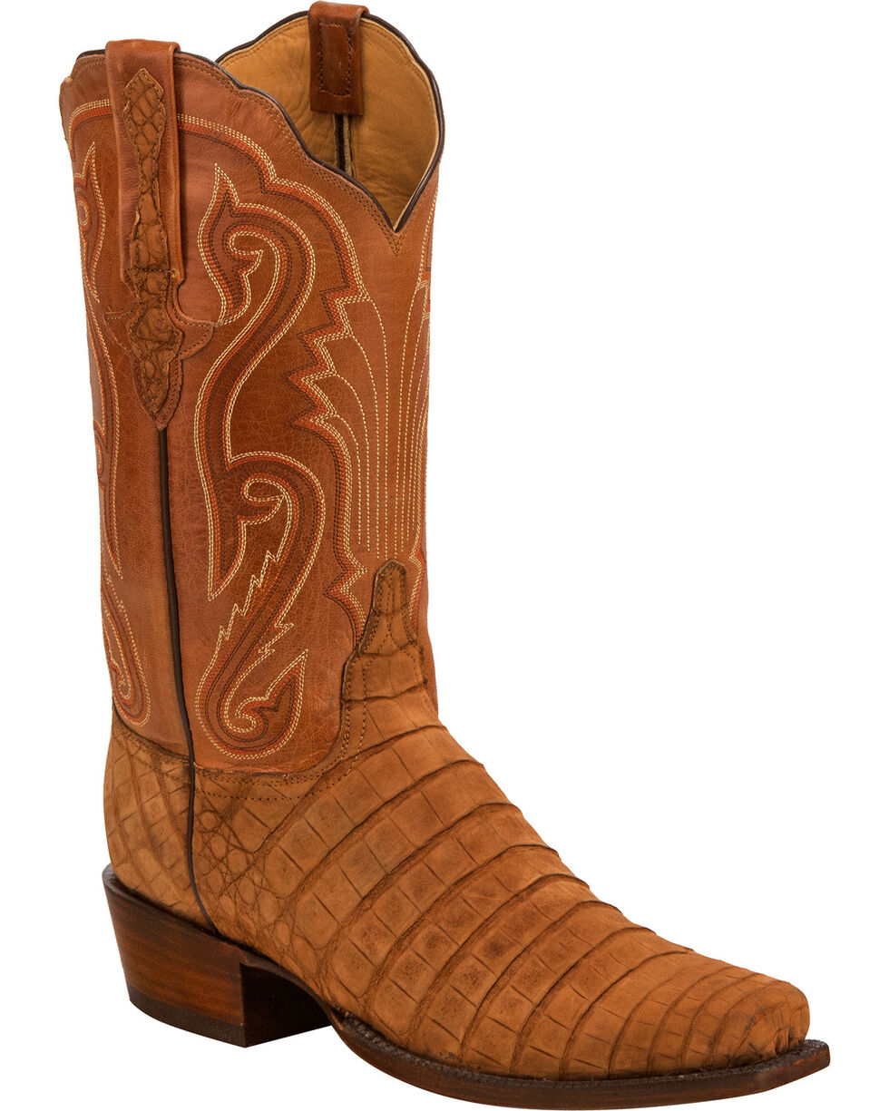 Lucchese Men's Handmade Owen Brown Sueded Caiman Belly Western Boots - Square Toe, Brown, hi-res