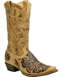 Corral Men's Caiman Inlay Western Boots - Snip Toe, Taupe, hi-res