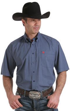 Cinch Men's Navy Geo Print Short Sleeve Shirt - Big and Tall, , hi-res