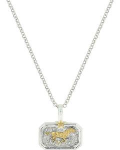 Montana Silversmiths Women's Gold Running Horse Necklace , Gold, hi-res