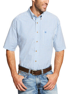 Ariat Men's Blue Ike Short Sleeve Shirt - Big and Tall , , hi-res