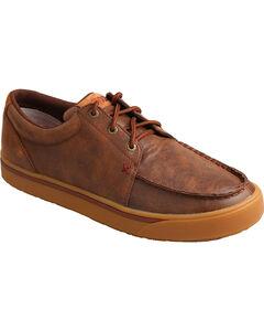 HOOey Men's Leather Lace-Up Shoes - Moc Toe, Brown, hi-res