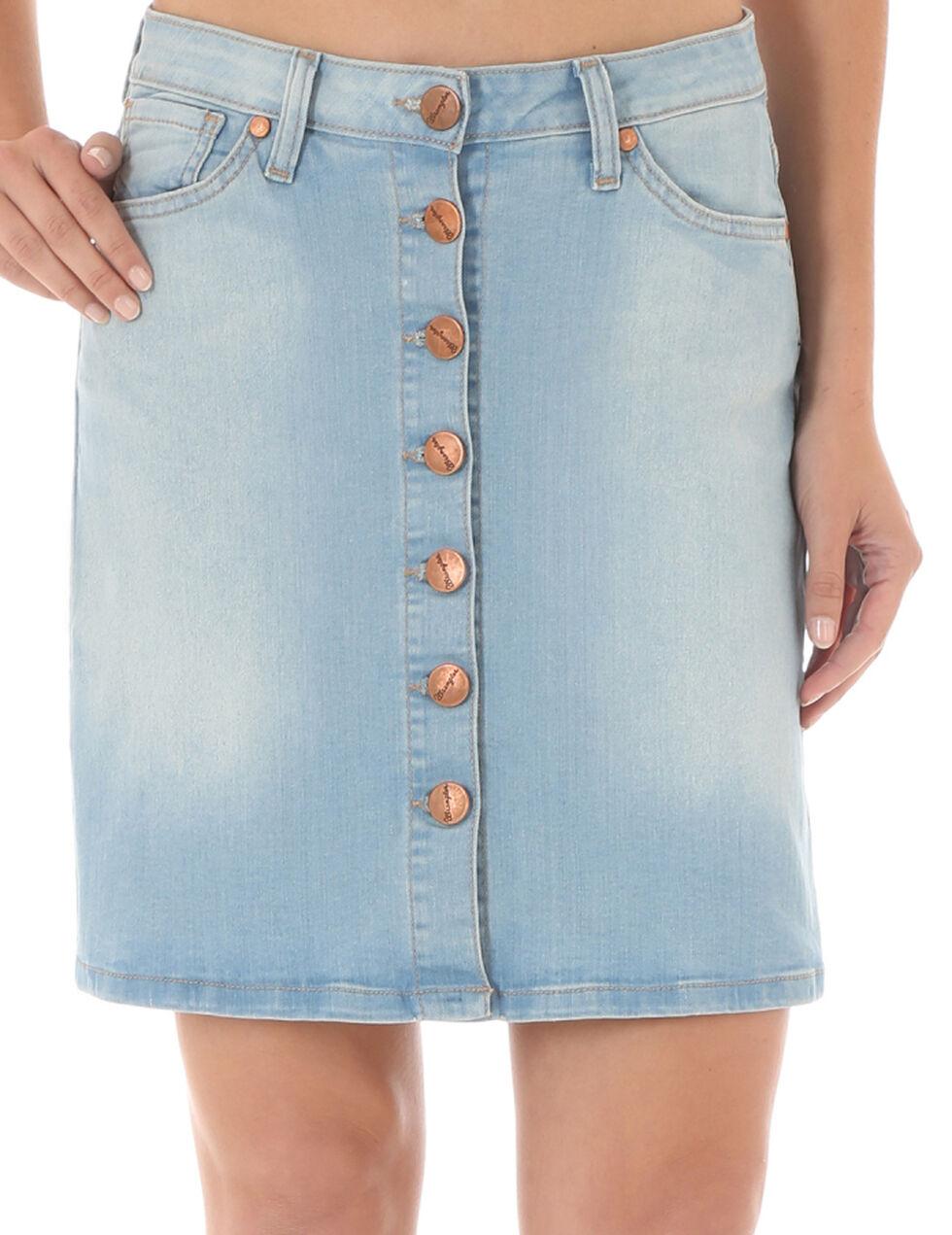Wrangler Women's Button-Front Denim Skirt, Indigo, hi-res