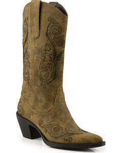 Roper Faux Leather Scroll Embroidered Cowgirl Boots - Pointed Toe, , hi-res