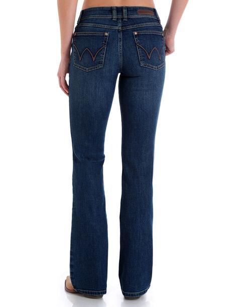 Wrangler Women's Medium Blue Retro Mae Leather Trim Mid-Rise Jeans - Boot Cut , Blue, hi-res