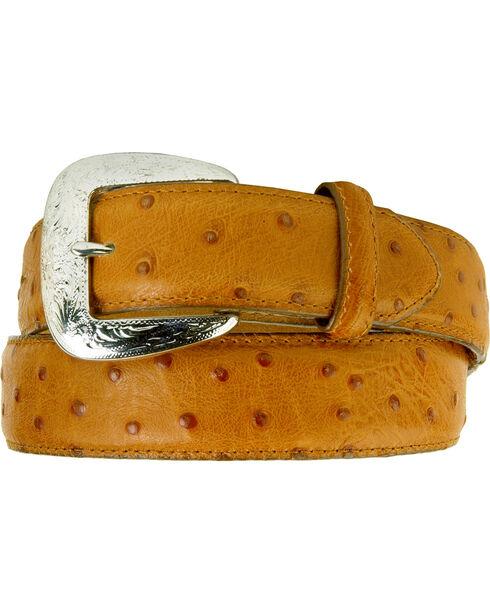 Tony Lama Ostrich Print Leather Belt - Reg & Big, Cognac, hi-res