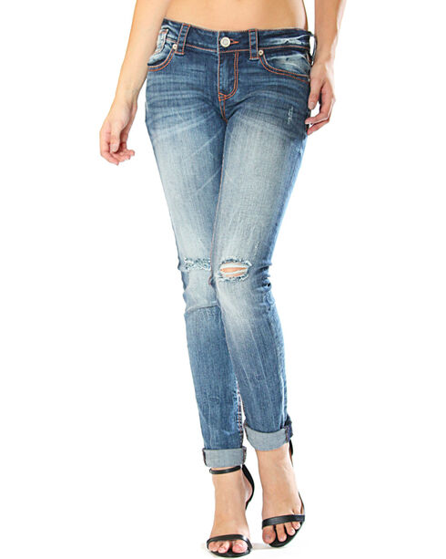 Grace in LA Distressed Jeans - Skinny, Indigo, hi-res