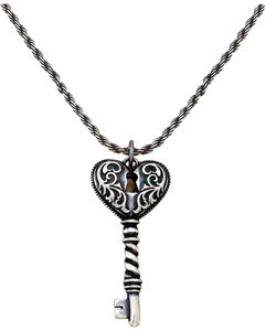 Montana Silversmiths Women's Heart Key Necklace, Silver, hi-res