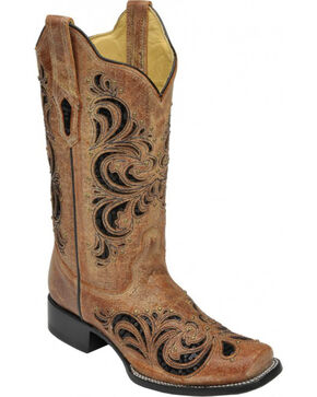 Corral Distressed Cognac Sequin Studded Cowgirl Boots - Square Toe , Cognac, hi-res