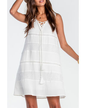 Miss Me Women's Ivory Lace Me Up Sleeveless Sundress , Ivory, hi-res