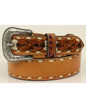 Nocona Men's Leather Laced Edges Belt , Natural, hi-res
