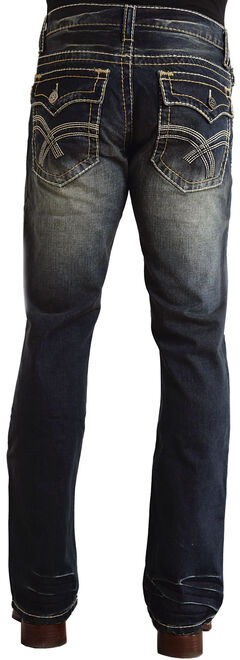 "Stetson Rock Fit Curved ""X"" Stitched Flap Pocket Jeans, , hi-res"