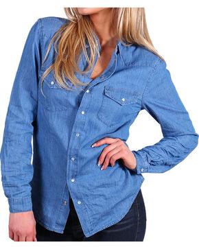 Angel + Premium Women's Chambray Shirt, Medium Blue, hi-res