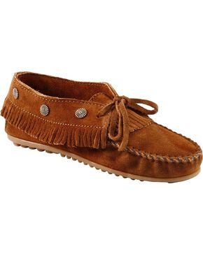 Minnetonka Fringed Suede Moccasins, Brown, hi-res