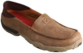 Twisted X Men's Bomber Brown Slip-On Driving Mocs , Brown, hi-res