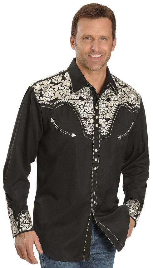 Scully Floral Embroidered Retro Shirt, Black, hi-res